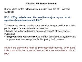Wiltshire RE Starter Stimulus