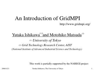 An Introduction of GridMPI
