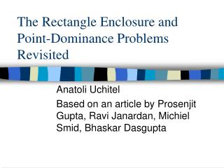 The Rectangle Enclosure and Point-Dominance Problems Revisited