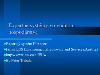 Expertné systémy vo vodnom hospodárstve