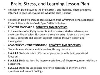 Brain, Stress, and Learning Lesson Plan