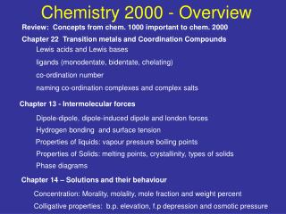 Chemistry 2000 - Overview