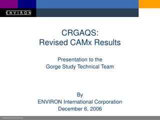 CRGAQS: Revised CAMx Results