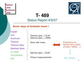 T- 489 Status Report 4/9/07