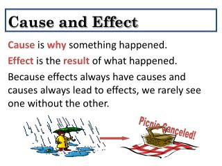 Cause is why something happened. Effect is the result of what happened.