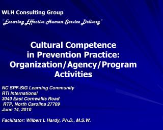 "WLH Consulting Group "" Ensuring Effective Human Service Delivery"" Cultural Competence  in Prevention Practice: Organizat"