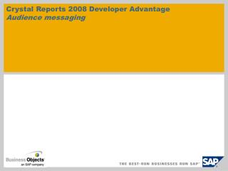 Crystal Reports 2008 Developer Advantage  Audience messaging