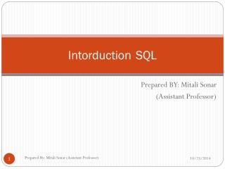 Intorduction 	SQL