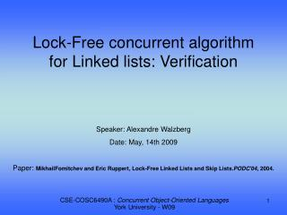 Lock-Free concurrent algorithm for Linked lists: Verification