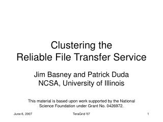 Clustering the  Reliable File Transfer Service