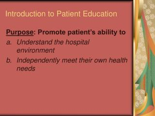 Introduction to Patient Education