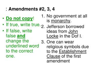 : Amendments #2, 3, 4