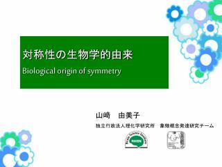 対称性の生物学的由来 Biological origin of symmetry
