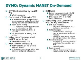 DYMO: Dynamic MANET On-Demand