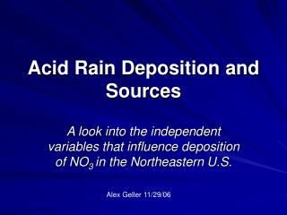 Acid Rain Deposition and Sources