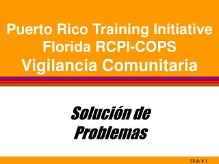 Puerto Rico Training Initiative Florida RCPI-COPS Vigilancia Comunitaria