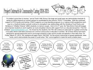 Project Outreach & Community Caring 2014-2015