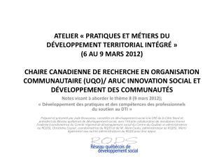 Notes visant à aborder le thème 8 (9 mars 2012);