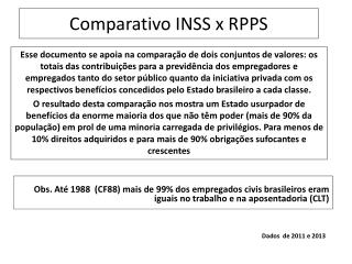 Comparativo INSS x RPPS