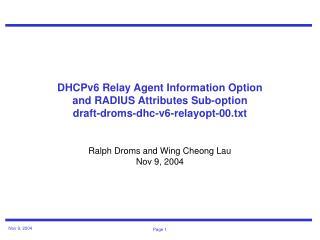 Ralph Droms and Wing Cheong Lau Nov 9, 2004