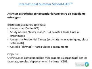 International Summer School-UAB CEI
