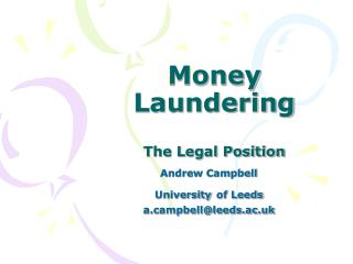 Money Laundering The Legal Position
