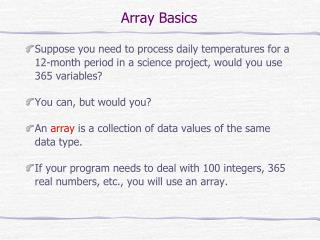 Array Basics