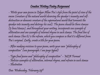Creative Writing Poetry Assignment