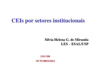 CEIs por setores institucionais