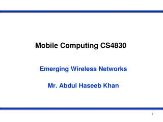 Mobile Computing CS4830