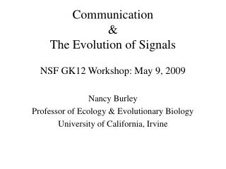 Communication & The Evolution of Signals