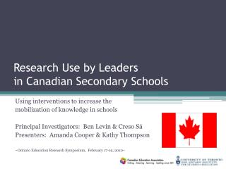 Research Use by Leaders in Canadian Secondary Schools