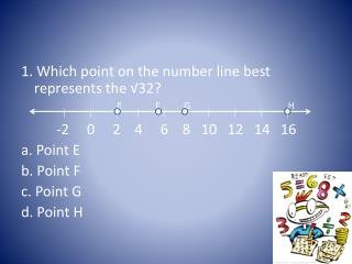 1. Which point on the number line best represents the √32?