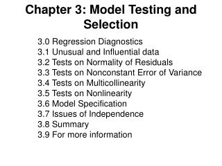 Chapter 3: Model Testing and Selection