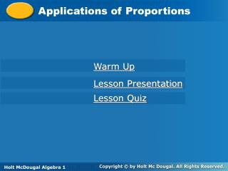 Applications of Proportions