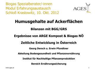 Biogas Spezialberater/-innen Modul Erfahrungsaustausch Schloß Krastowitz, 10. Okt. 2012