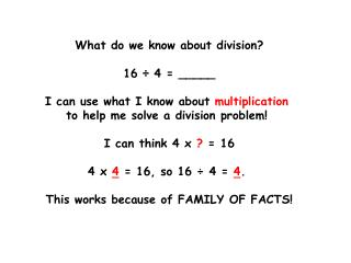 What do we know about division? 16 ÷ 4 = _____ I can use what I know about multiplication