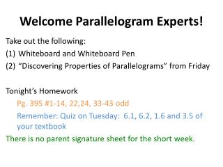 Welcome Parallelogram Experts!