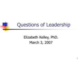 Questions of Leadership