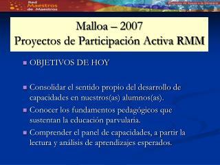 Malloa – 2007 Proyectos de Participación Activa RMM