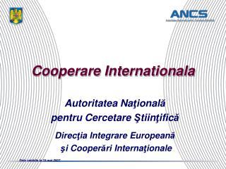 Cooperare Internationala