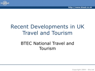 Developments of  UK travel and tourism industry