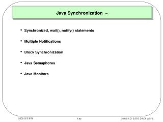 Java Synchronization  ~