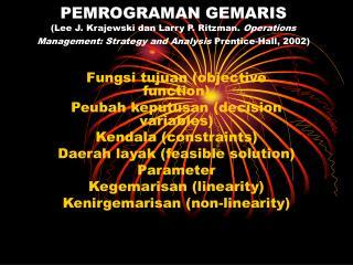 Fungsi tujuan (objective function) Peubah keputusan (decision variables) Kendala (constraints)