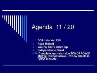 Agenda 11 / 20
