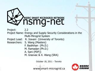 Project: 2.2 Project Name: Energy and Supply Security Considerations in the