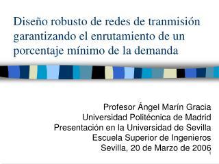 Profesor Ángel Marín Gracia Universidad Politécnica de Madrid