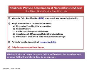Nonlinear Particle Acceleration at Nonrelativistic Shocks