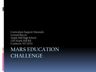 Mars Education Challenge