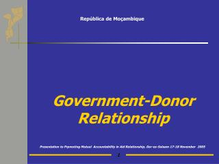 Government-Donor Relationship